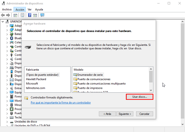 Instalar drivers MTK preloader windows10