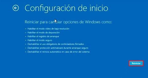 desactivar uso obligatorio de controladores firmados Windows 8, 8.1 y 10