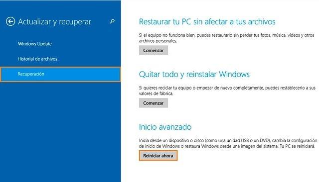 acceder al inicio avanzado de Windows 8