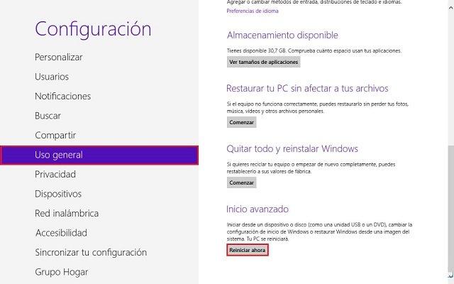 acceder al inicio avanzado de Windows 8.1