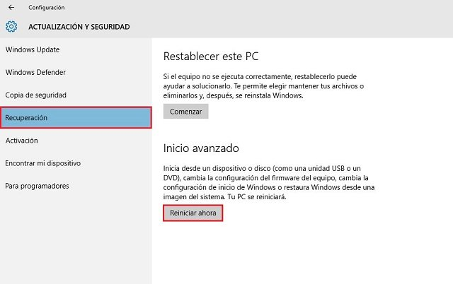 acceder al inicio avanzado de Windows 10