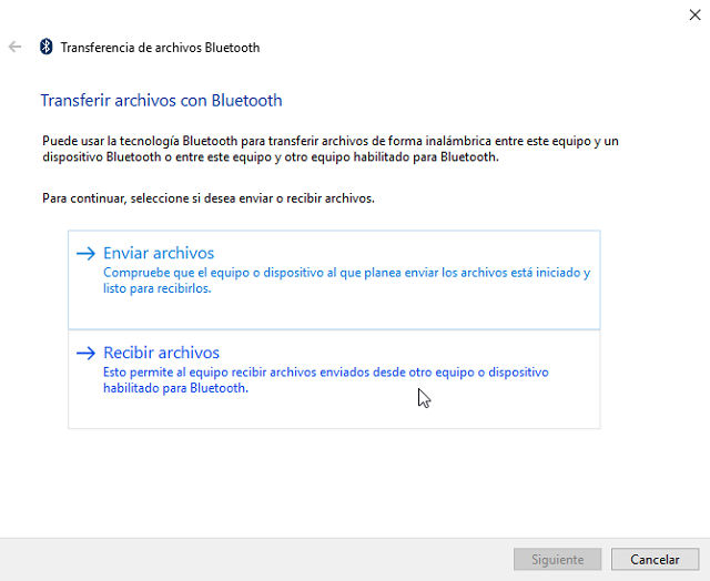error al compartir archivos por Bluetooth