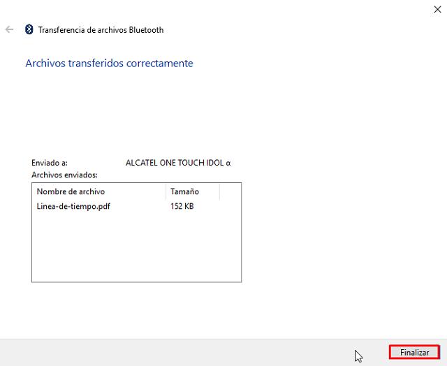 No puedo transferir archivos por Bluetooth desde windows