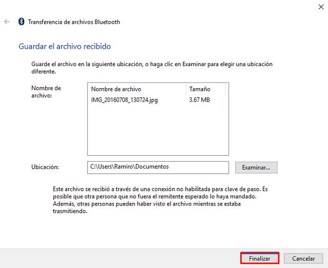 transferencia de archivos por solución al recibir documentos por Bluetooth en Windows 8, 8.1 y 1'