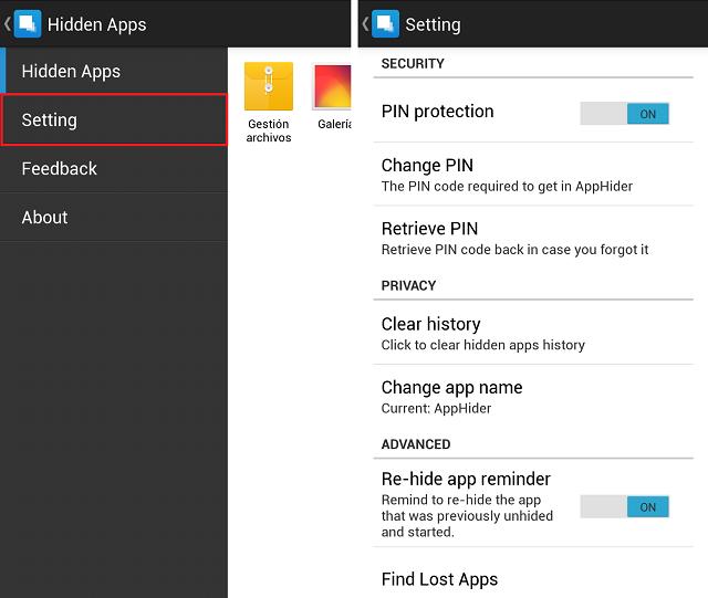 Ocultar Fotos y Vídeos en Android Aplicación