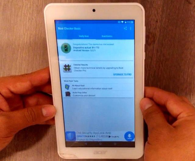 comprobar acceso root en tablet acer iconia