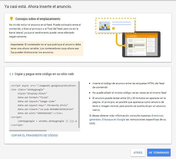 como crear anuncios en google adsense InArticle
