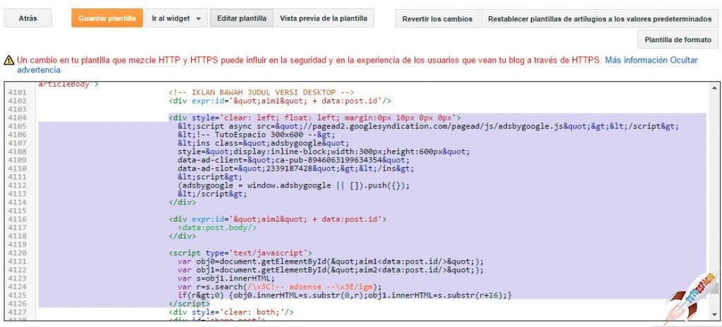 código adsense  en toda la plantilla de blogger