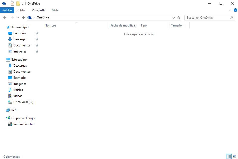 eliminar el icono de OneDrive del explorador de archivos