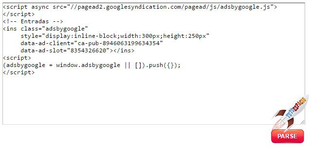 página para parsear código de adsense
