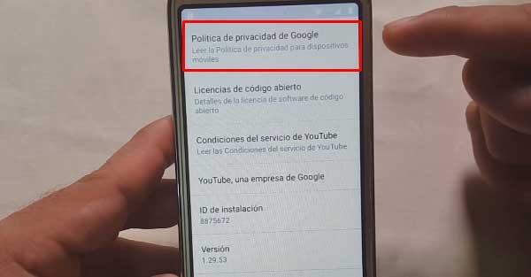 política de privacidad de google