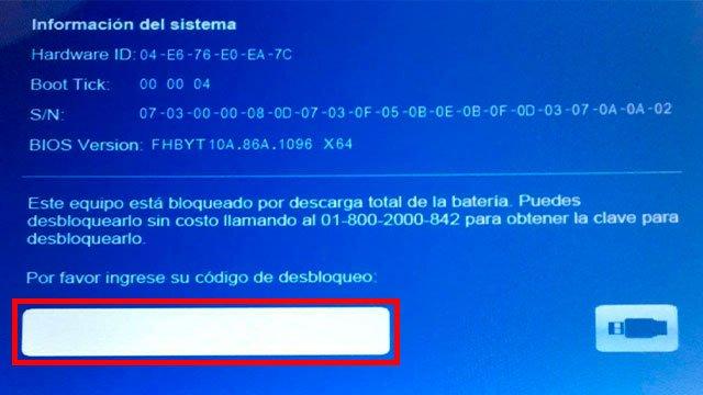 codigo de desbloqueo tablet sep por bateria baja